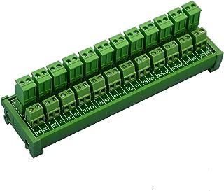 Electronics-Salon DIN Rail Mount Pluggable 12x2 Position 10A/300V Screw Terminal Block Distribution Module. (Side Wire Connects)