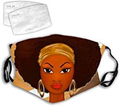 Good Mouth Cover with Replaceable Activated Carbon Guard for Sleeping Hiking Daily Use Washable Skin-Friendly Exhaust Gas Dust Cover African American Girls Cartoon Art Afro Curls Black Women Power