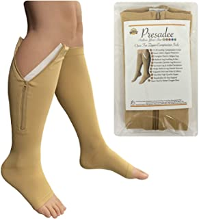 Presadee Open Toe 15-20 mmHg Moderate Compression Leg Calf Swelling Zipper Sock (Beige, 5XL)