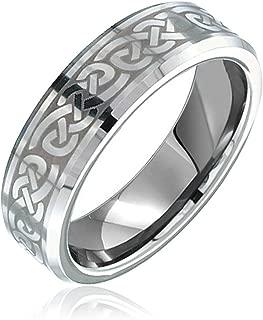 Bling Jewelry Irish Viking Celtic Infinity Love Knot Couples Titanium Wedding Band RingsforMen for Women Matte Silver Tone 7MM