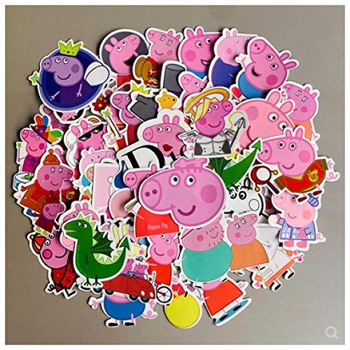 HUNSHA Peppa Pig Pegatina de Dibujos Animados Lindo Equipaje portátil Guitarra monopatín Pegatina de teléfono Impermeable 50 Uds
