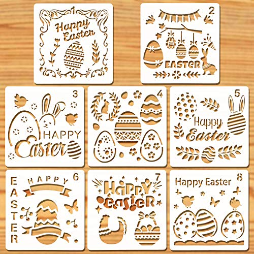 Howaf 8 Pezzi Pasqua Stencil di Pittura Coniglietto Uova Riutilizzabile Plastica Disegno Pittura Scrapbooking Stencil Pasqua Decorazioni Fai da Te Bambini Pasqua Regali