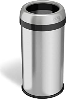 iTouchless 16 Gallon Dual-Deodorizer Round Open Top Trash Can, Commercial Grade Stainless Steel, 60 Liter Open Garbage Can