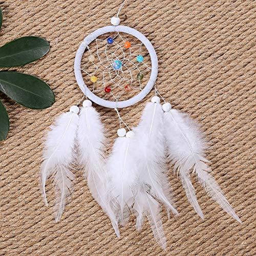Preisvergleich Produktbild SKYYKS Traumfänger Zubehör Feder Anhänger Dekoration Ornament CircularWhiteOC-2008