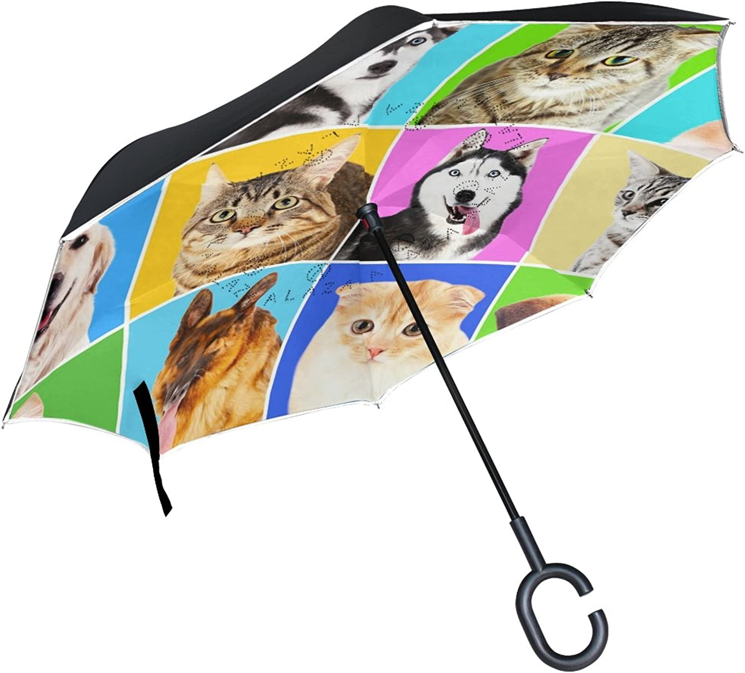 MAPOLO Dogs and Cats Portraits Pattern Ingreened Double Layer Windproof Straight Umbrellas InsideOut Folding Umbrella with CShaped Handle for Car Use