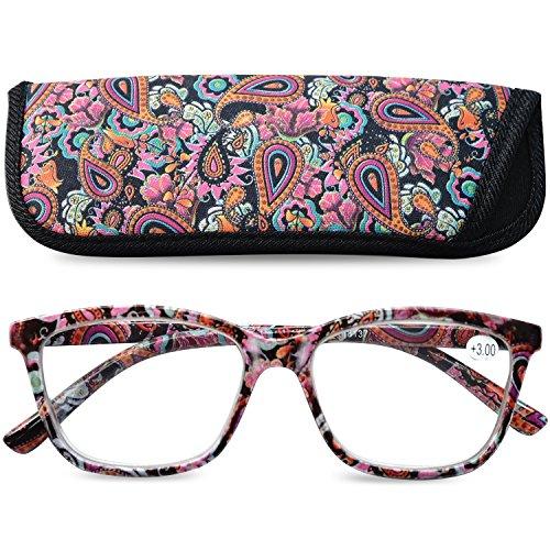 VEVESMUNDO Gafas de Lectura Mujer Hombre Grande Ojo de Gato Flores Leer Graduadas Vista Presbicia con Bolsillo 1.0 1.25 1.5 1.75 2.0 2.25 2.5 2.75 3.0 3.5 4.0
