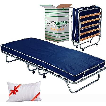 EvergreenWeb - Confortable lit d'appoint 80x190 avec Matelas Mousse H 10 cm avec oreillers en memoire Gratuit, sommier à Lattes en Bois et Roulette, orthopédique, invité - Pliant + roulettes