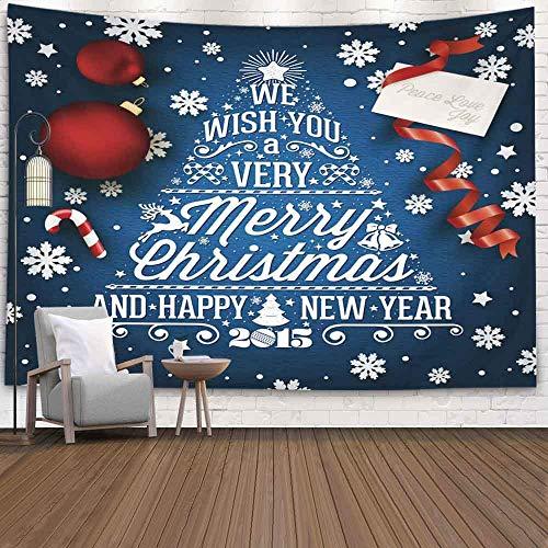 OMNHGFUG Tapiz de pared de invierno para Navidad, Día de Acción de Gracias, 20 x 152 cm y fondo tipográfico de Año Nuevo con elementos para colgar en la pared, tapiz para dormitorio, hogar