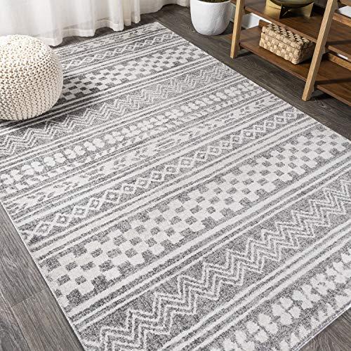 JONATHAN Y Imlil Tribal Geometric Stripe Area-Rugs For Bedroom And Living Room, Bohemian,Casual, Southwestern Light Gray/Cream 3 X 5