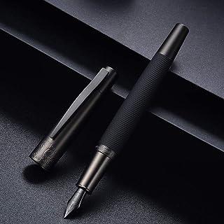 Hongdian 6013 Matte Black Fountain Pen Titanium Black Extra Fine Nib with Metal Gift Box Set
