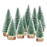 TheStriven 10 Pcs Mini Navidad Verde Árbol Artificial Abeto Árbol de Mavidad Artificial Árbol De Navidad con Base De Madera Árbol De Navidad Pequeño para Decoración de Mesa de Manualidades Navideñas