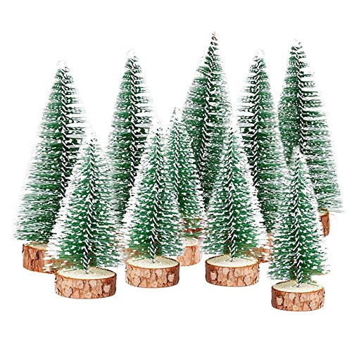 TheStriven 10 Stück Mini Weihnachtsbaum Künstlicher Kleiner Kiefernbaum mit Holzsockel künstliche Tanne Mini Tannenbaum Künstlich mit Schnee-Effek DIY Grün Klein Mini Christbaum für Weihnachten Party
