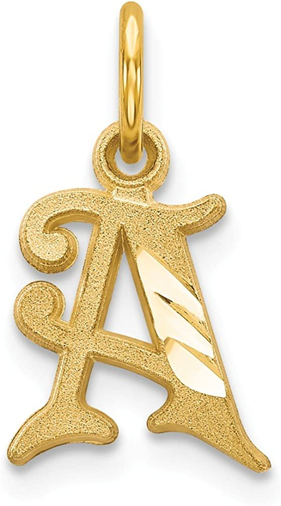Solid 14k Yellow Gold Initial Letter A Alphabet Charm Pendant - 17mm x 10mm