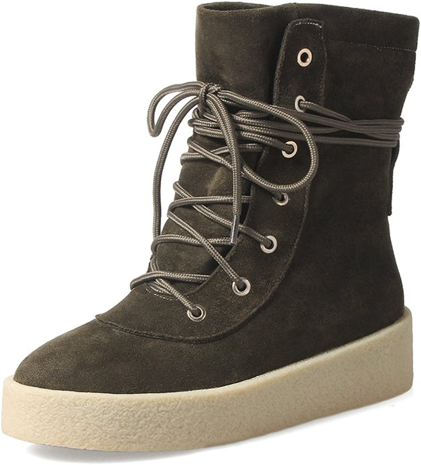MINIVOG Women's Boots Suede Round Toe Winter Ankle Booties