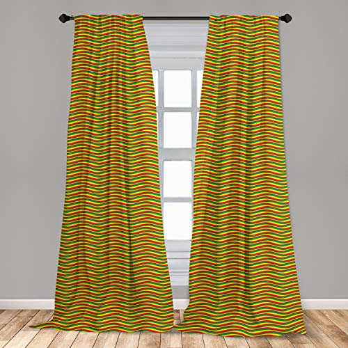 "Ambesonne Rasta Window Curtains, Vivid Colors Ethiopian Flag Colors in Wavy Style Stripes Image, Lightweight Decorative Panels Set of 2 with Rod Pocket, 56"" x 84"", Marigold Green and Red"