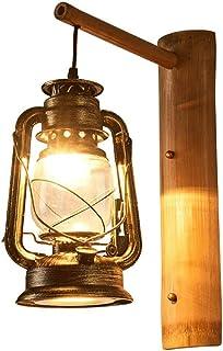 SMEJS Tabla lámpara- Vendimia Maciza de la Linterna de Madera artísticos Cafe Bar Restaurante del Dormitorio de Cristal Ap...