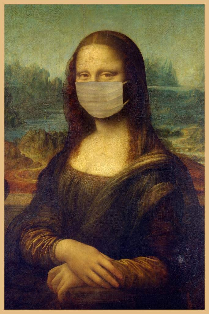 Poster Foundry Mona Lisa Wearing A Mask Art shop Pandemic Safety and trust Face Parody
