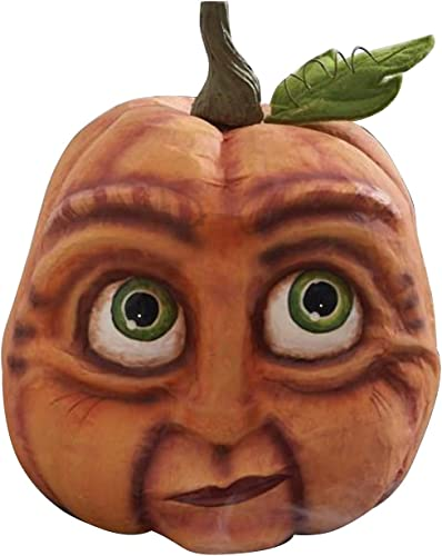 wholesale Pumpkin Sculptures with Exaggerated Expression, Expressive Pumpkin Statue, Fall Harvest Thanksgiving Halloween Home Decor for wholesale lowest Window Sill, Countertop, Bookshelf (Style B) outlet sale