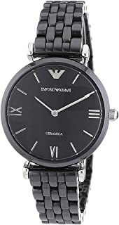Emporio Armani Women's Black Dial Ceramic Band Watch AR1487, Quartz, Analog