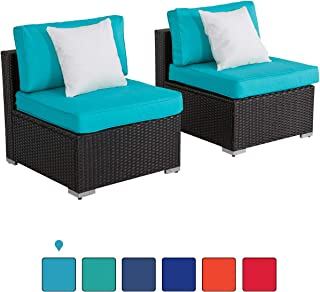 Kinsunny 2 PCs Outdoor Furniture Add-on Armless Chairs for Expanding Black Wicker Sectional Sofa Set w Turquoise Thick Cushions for Garden, Pool, Backyard