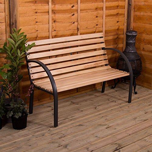 Trädgård Vida spaltad trädgårdsbänk träsits utomhusmöbler sittplatser träplattor stålben park uteplats säte