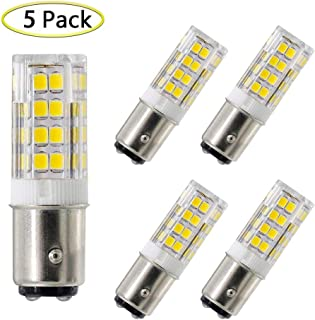BA15D led Bulb 5W Sewing Machine Light Bulb Equivalent to 40W Halogen Bulb, T3/T4/C7/S6 Double Contact Bayonet Base, 120V Daylight White 6000K, Not-Dimmable (5 Pack)(ba15d 52cw)