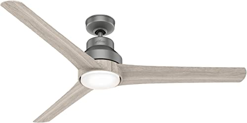 """Hunter Lakemont Indoor / Outdoor Ceiling Fan with LED Light and Remote Control, 60"""", Silver"""