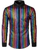 JOGAL Men's Dress Shirt Sequins Button Down Long Sleeve Shirts 70s Disco Party Costume X-Large A353L Multicolour