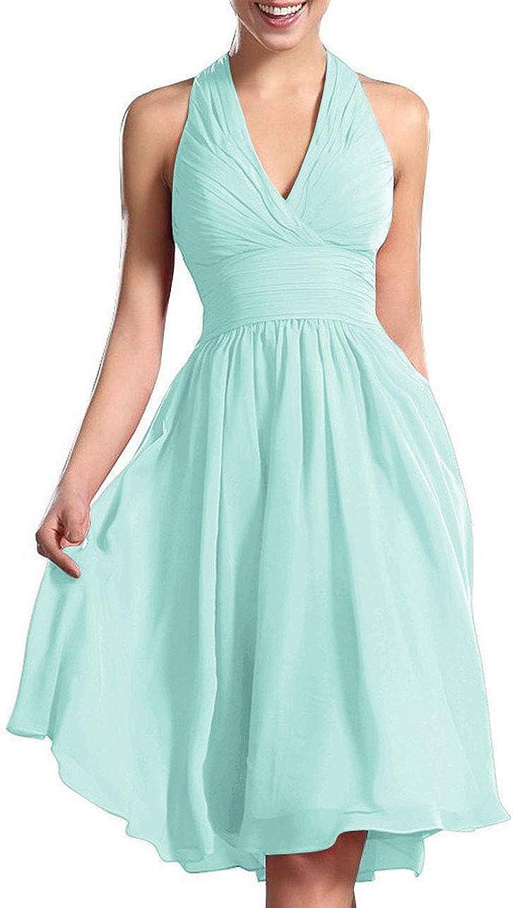 Bridesmaid Dress Halter Wedding Party Dresses Chiffon Bridesmaid Dresses Short Prom Dress