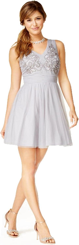As U Wish Womens Beaded Fit & Flare Dress Soft Sliver 7