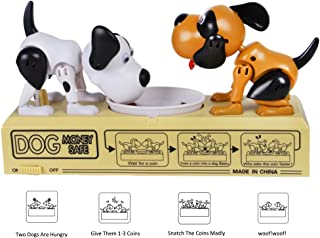 SCOFEEL CLUB Cute Puppy Double Hungry Dog Money Box Piggy Bank Coin Eating Munching Toy Coin Box Piggy Bank Money Bank Novelty