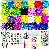 Jeffbaubl Loom Rubber Band Bracelet Kit, 11900+ Bracelet Making Kit, Rubber Band Loom Kit for Kids, with 28 Unique Bright Colour Bands, Accessories