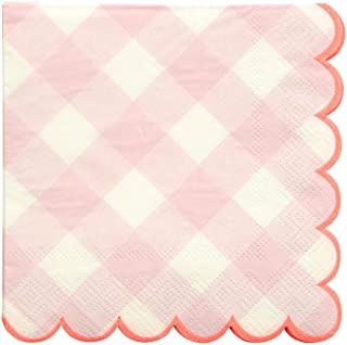 Meri Meri Pink Gingham Small Napkins - Pack of 20 - Neon print detail with Scallop Edge