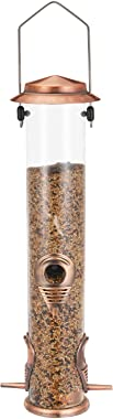 Ointo Garden Tube Bird Feeder Hanging with 4,Copper Feeding Ports Wild Bird Seed Feeder for Mix Seed Blends Heavy Duty