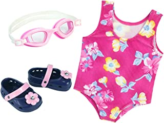 Sophia's Pink Floral Swimsuit for 18 Inch Dolls with Pink Sandals and Water Goggles