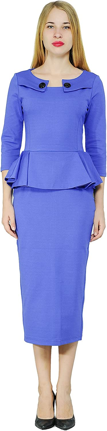 Marycrafts Women's Work Office Business Midi Dress Peplum Tea Dresses