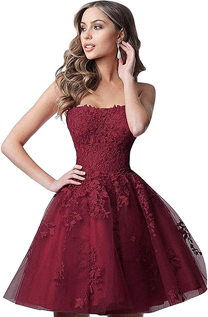Sweetheart Lace Homecoming Cocktail Dresses Short A Line Tulle Prom Dress