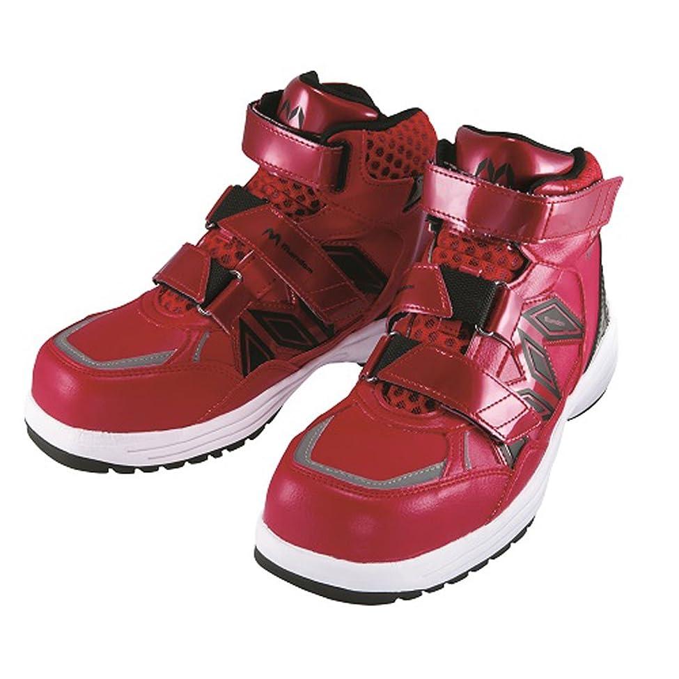 滅びるアマチュア感情安全靴 スニーカー マンダムセーフティー 作業靴 マルゴ 安全シューズ 樹脂先芯 ミドルカット ベルト ベルクロ 赤 レッド 工場 耐油 滑りにくい 3E 幅広 JSAA A種認定品 男性 メンズ 女性 レディース 靴 シューズ
