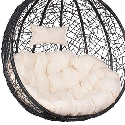 SPRINGOSⓇ Schaukelkissen|Hängesessel Kissen|100 x 120 cm|Polster mit Kopfstütze|Auflage für Polyrattan/Rattan Hängeschaukel|Rückenkissen|Kopfstütze|Beige (Beige)