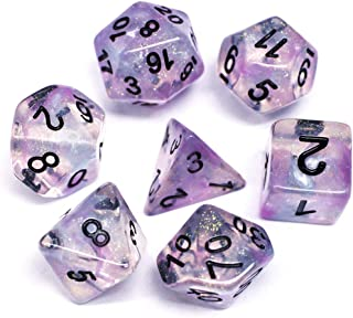 HD Dice DND Polyhedral Dice RPG Dice for Dungeons and Dragons,D&D,Pathfinder,MTG,Role Playing Games Pink Blue Transparent Dice with Color Changing Glitter