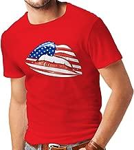 lepni.me T Shirts for Men Patriotic USA Lips- American Flag Clothing