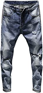 Stretch Slim Fit Men's Straight Jeans Holes Casual Vintage Classic Simple New Denim Hole Trousers Chic Long Pants