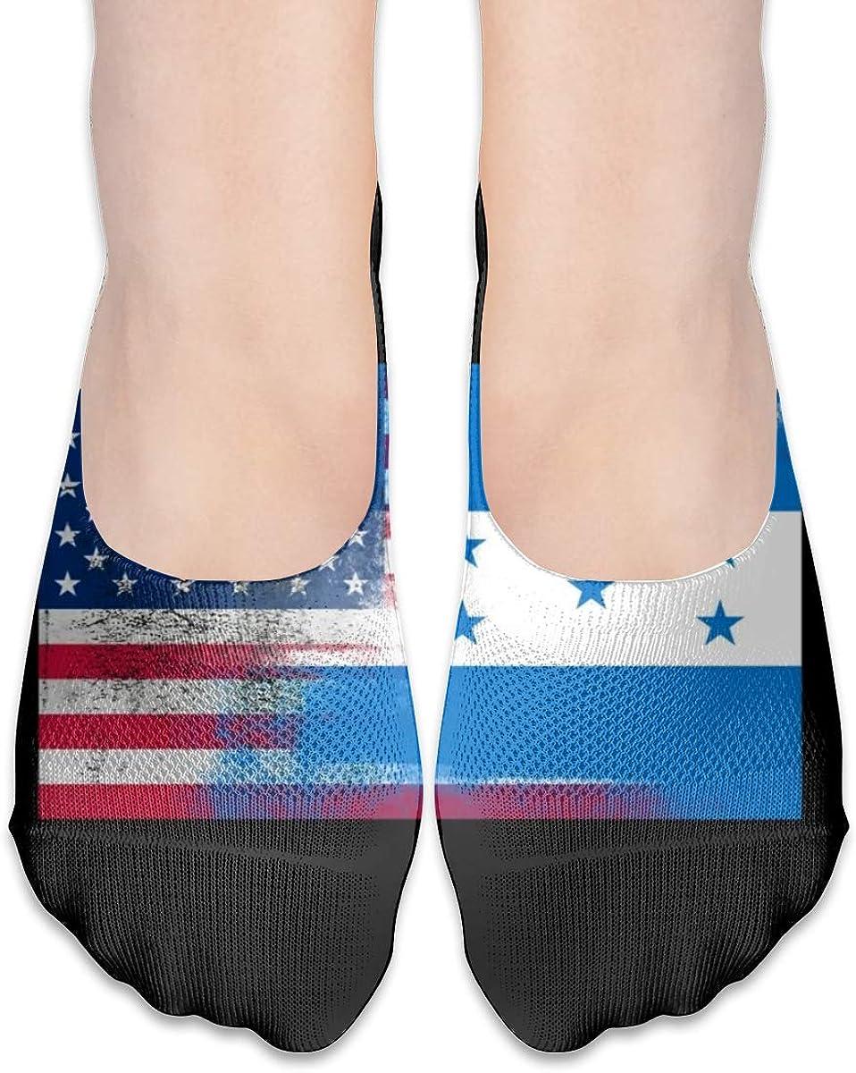 Personalized No Show Socks With Honduran American Flag Print For Women Men
