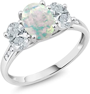 10K White Gold Diamond Accent Cabochon Simulated Opal 3-Stone Ring 1.91 Ct (Available 5,6,7,8,9)