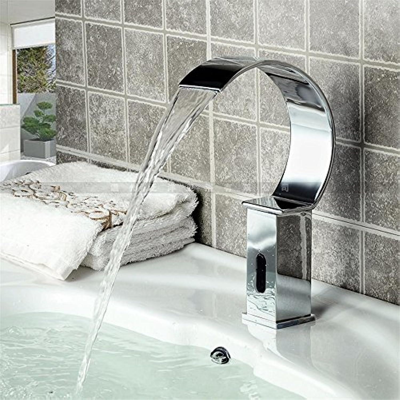 Bijjaladeva Wasserhahn Bad Wasserfall Mischbatterie Waschbecken Armatur für Silber C-Typ Sensor Magnetventil Keyless Entry Eine der Bohrung Smart Sensing Badezimmer Waschtisch Arma