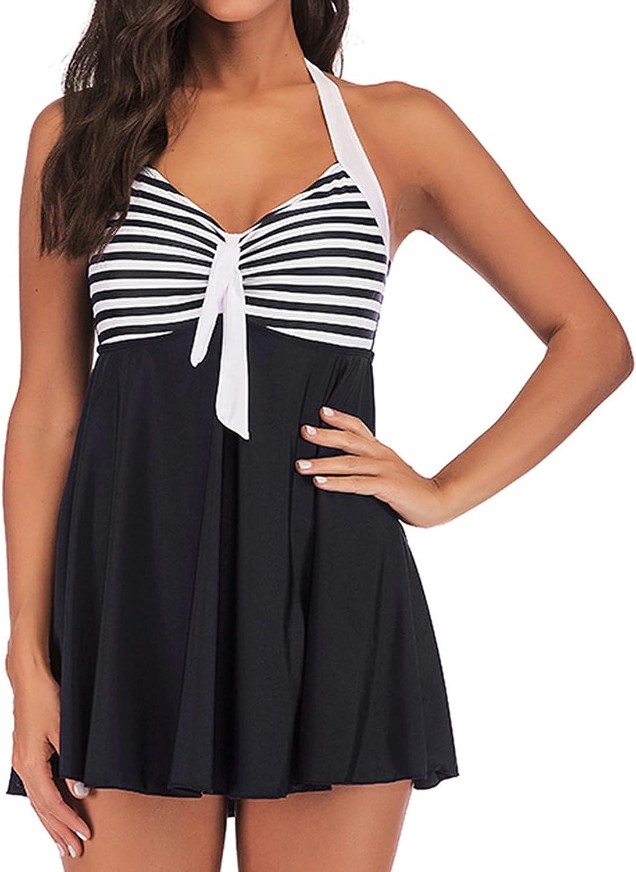 WUHOVILA Bathing Suits for Women Tankini Two PieceTummy Control Push Up Swimdress Swimwear Halter Top Swimsuits