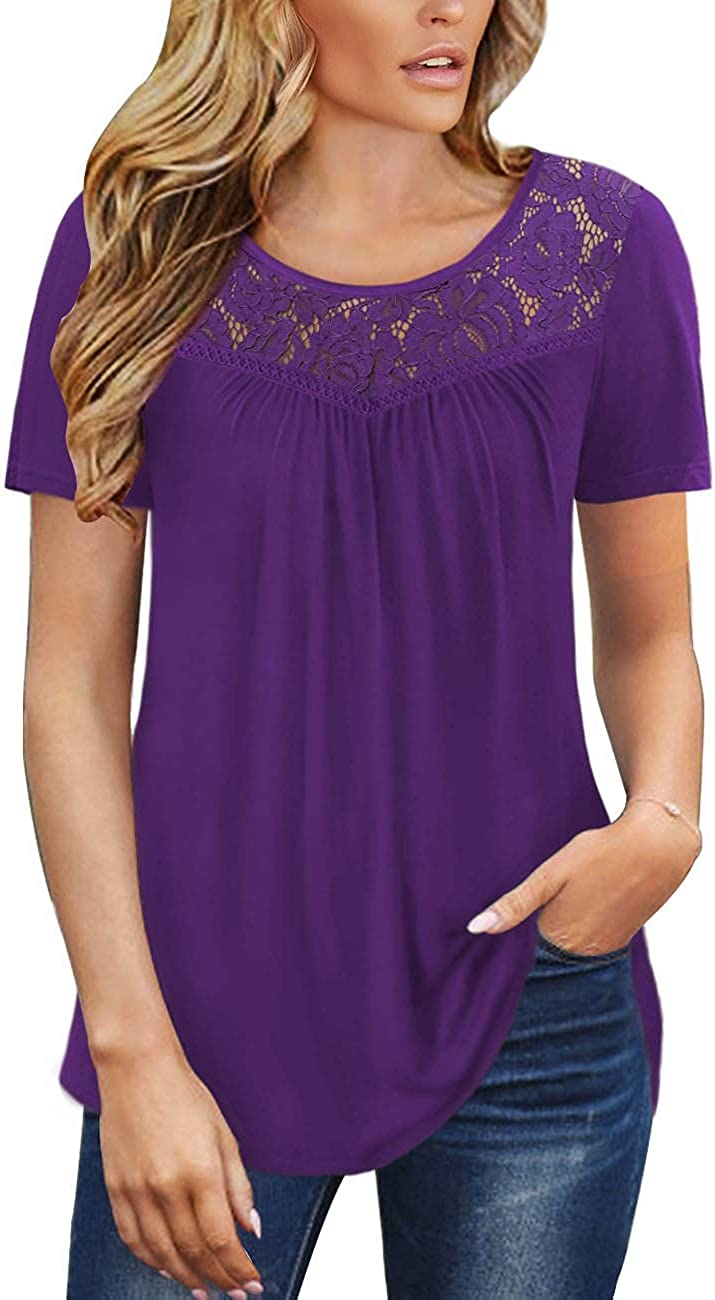 Grlasen Women's Fashion Summer Pleated Short Sleeve T Shirt Lace V-Neck Solid Color Casual Tunic Tops