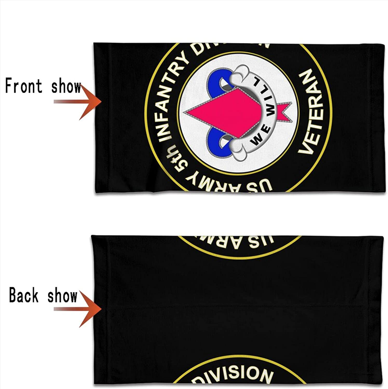U.S. Army 5th Infantry Unit Crest Veteran Round Neck Gaiter Bandnas Face Cover Uv Protection Prevent bask in Ice Scarf Headbands Perfect for Motorcycle Cycling Running Festival Raves Outdoors
