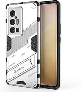 جراب OIATROE لهاتف Vivo X70 Pro Plus ، حامل عمودي وأفقي ، مضاد للسقوط ، نمط بانك ، حماية الكاميرا - أبيض