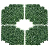 12PCS Artificial Boxwood Topiary Hedge Plant UV Protection Indoor Outdoor Privacy Fence Home Decor Backyard Garden Decoration Greenery Walls 20' X 20'